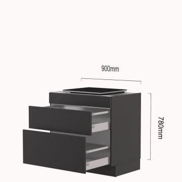 kookplaat-korvenkast 90 cm inductie